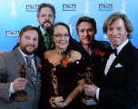 ACTRA Toronto president David Sparrow (back left) with the ACTRA Award winners (L to R: Cory Doran, Tantoo Cardinal, Gavin Crawford, Jamie Jones)
