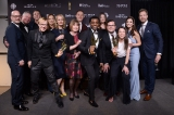 The <em>Orphan Black</em> team celebrate their win in the best drama category