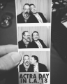 voice actor ian james corlett and actor peter kelamis have fun in a photo booth