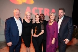 L to R: UBCP/ACTRA president Keith Martin Gordey,  ACTRA National past president & FIA president Ferne Downey, Molly Parker, ACTRA National executive member Alvin Sanders, ACTRA Toronto president Theresa Tova, and ACTRA National president David Sparrow