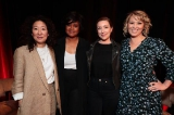l to r: past award of excellence recipients sandra oh and tonya williams with molly parker, and event moderator naomi sniekus