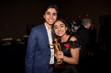 Saara Chaudry, ACTRA's winner for outstanding performance for voice,  with her brother Daanyal Chaudry.
