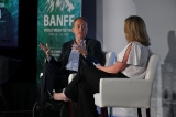 nbc entertainment chairman robert greenblatt with the hollywood reporter's deputy editorial director alison brower at the 2018 banff world media festival.