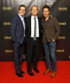 l to r: actor sean hayes with nbcuniversal's kevin maclellan and actor eric mccormack.