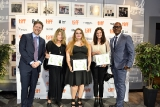cmpa president and ceo reynolds mastin and tiff co-head cameron bailey with winners simone urdl, caitlin grabham and jennifer weiss.