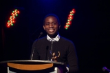 Simon Paul Mutabazi accepting his Screen Nova Scotia award.