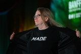 CMF CEO and president Valerie Creighton unveiling her Made|Nous campaign shirt.