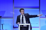 Rick Mercer presents the Award of Excellence to Shirley Douglas at the 2013 ACTRA Awards in Toronto (photo: Jag Gundu)