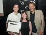 From left: Darcy Arthurs, project supervisor for Technicolor Creative Services and CFC volunteer; Katie Bailey, editor, Playback; Slawko Klymkiw, executive director, CFC (Photo: CFC)
