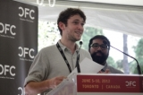 Sebastian Feehan accepts the Panasonic Award for Best Documentary Short: EIGHTY EIGHT. Photo by Ki-in Wong