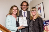 councillor jaye robinson presents an honourary certificate to cfc ceo slawko klymkiw and cfc board of directors chair christina jennings to congratulate cfc on the opening of the northern dancer pavilion. photo: trevor haldenby