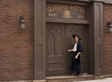 a fan explores the back lot at the murdoch mysteries fan event.