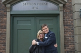 christina jennings (ceo, shaftesbury) and peter keleghan (terrence meyers) pose in front of station house no. 4