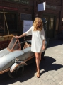 helene joy (dr. ogden) poses with the pendrick bullet at the murdoch mysteries fan event