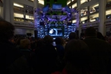 a shot of the crowd at the screening of the 100th murdoch mysteries episode in the barbara frum atrium at the cbc