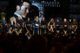 (from left to right) author maureen jennings, christina jennings, peter mitchell, sarah adams, tv critic and host bill brioux, and murdoch mysteries cast yannick bisson, h�l�ne joy, jonny harris, thomas craig and georgina reilly speak during a panel held after the screening of the 100th episode of murdoch mysteries