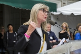 CFC chair and Shaftesbury CEO and Chairman Christina Jennings speaking at the CFC BBQ's podium.