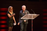 Michael MacLennan, showrunner for Bletchley Circle:  San Francisco, accepting the WGC showrunner award from Alison Lea Bingeman.