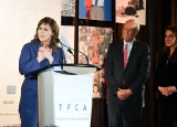 Sofia Bohdanowicz, Rogers nominee for the TFCA's award for Best Canadian Film, addressing the crowd.