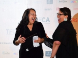 L to R: Technicolor Clyde Gilmour winner Tantoo Cardinal with writer/director/producer Darlene Naponse, the recipient of Cardinal's Technicolor award.