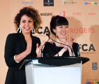 TIFF 2018 Rising Star Jess Salgueiro presenting TFCA honours with actor Grace Lynn Kung .