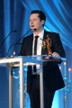 Noah Reid accepting the Series Ensemble award for Schitt's Creek.