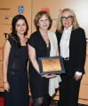 Lina Rodriguez, beneficiary of the Technicolor Clyde Gilmour Award with winner Michele Maheux and Technicolour's Grace Carnale-Davis.