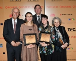 Rogers vice-chair Phil Lind, TFCA president Peter Howell and presenter Margaret Atwood with Elle-Máijá Tailfeathers and Kathleen Hepburn, the winners of the TFCA's 2019 Rogers Best Canadian Film Award.