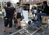 L to R: 1st A/C Alex Leung, Madison Cheeatow (Ruby Skye), DOP Alex Dacev; camera settings; exteriors Little Italy