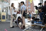 Elena Gorgevska (Diana Naughton) and Madison Cheeatow (Ruby Skye) in rehearsal; exteriors in Little Italy