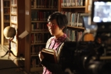 Samantha Won (Ophelia Bedelia) on set at the Emmanuel College Library, University of Toronto