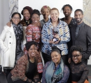 oya media group president alison duke, recipient of the 2019 mentorship award, with her oya media group staff and mentors, participants and alumni from black youth! pathways 2 industry. image from eddy perez.