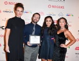 Presenter Carolina Bartczak with The Breadwinner's Andrew Rosen, Saara Chaudry, and Soma Chhaya,