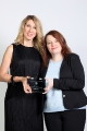 cbc business of broadcasting mentorship recipient courtney graham with michelle daly backstage at the 2014 wift-t crystal awards. credit: eduardo perez