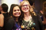 WIFT-T Media Leadership Program alum Jalpa Patel and Pelee Entertainment president and producer Heidi Lasi posing for a photo. Photo by Kowthar Omar.