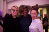 l to r: wift-t foundation board chair alex lalonde and hungry eyes media president, co-founder and producer jennifer holness with writer/director/producer ingrid veninger. photo by kowthar omar.