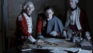 Burn Gorman as Major Hewlett , JJ Feild as Major John Andre  and Samuel Roukin as Captain Simcoe - TURN _ Season 1 _ Gallery - Photo Credit: Frank Ockenfels 3/AMC