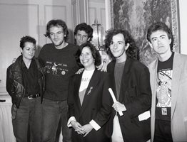 Quentin Tarantino, Helga Stephenson and Piers Handling at TIFF in 1992. Photo courtesy of Nir Baraket