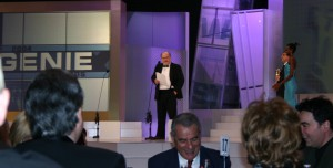 simpson gives an acceptance speech after winning a genie award for special achievement in 2004.