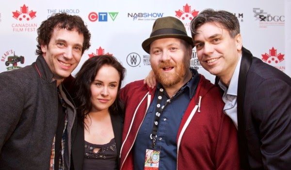 From How to Plan an Orgy in a Small Town - Jonas Chernick, Tommie-Amber Pirie, writer-director Jeremy LaLonde, and CFF executive director Bern Euler