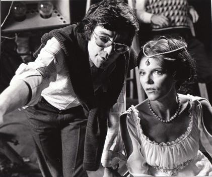 Denis Heroux directing Samantha Eggar on the set of The Uncanny.