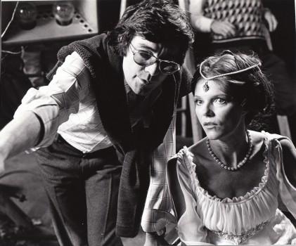 Denis Heroux directing Samantha Eggar on the set of The Uncanny.