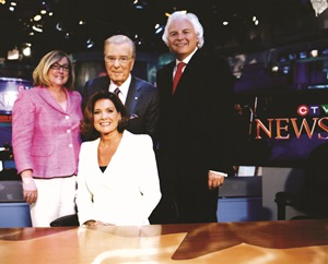 Fecan, with CTV exec Susanne Boyce (far left), as Lisa LaFlamme takes over the national news desk from Lloyd Robertson in 2011.