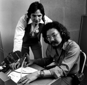 fecan and david suzuki in production of season one of cbc radio's quirks & quarks (1976). photo: cbc still photos