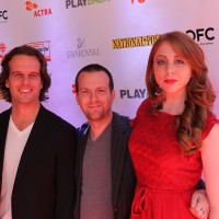 (From left) Aircraft Pictures' Anthony Leo and Andrew Rosen and Todd and the Book of Pure Evil's Melanie Leishman