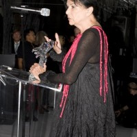 """Inductee Alanis Obomsawin thanks the NFB, saying """"They didn't try to censor me because I'd kill them"""" (photo: Linda Dawn Hammond)"""