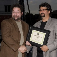 T2W honoree Adam Barken and Panavision's Stewart Aziz (photo: Linda Dawn Hammond)
