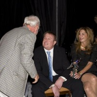 Jewison congratulates Paul Bronfman (photo: Linda Dawn Hammond)