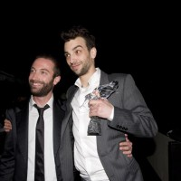 Tierney and Baruchel celebrate after the Awards (photo: Linda Dawn Hammond)