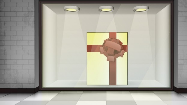 Gift Box in Illuminated Store Front from Shutterstock